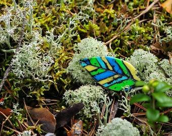 multicolor Leaf Brooch, badge, polymer clay