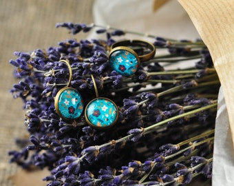 Cabochon earrings and ring blue flowers summer glass  antique brass