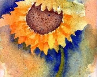 Original PRINT of Sunny Sunflower Watercolor Painting, Sunflower Painting, Watercolor Sunflower