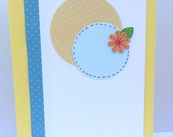 Thank You Greeting Card - Circles and flower