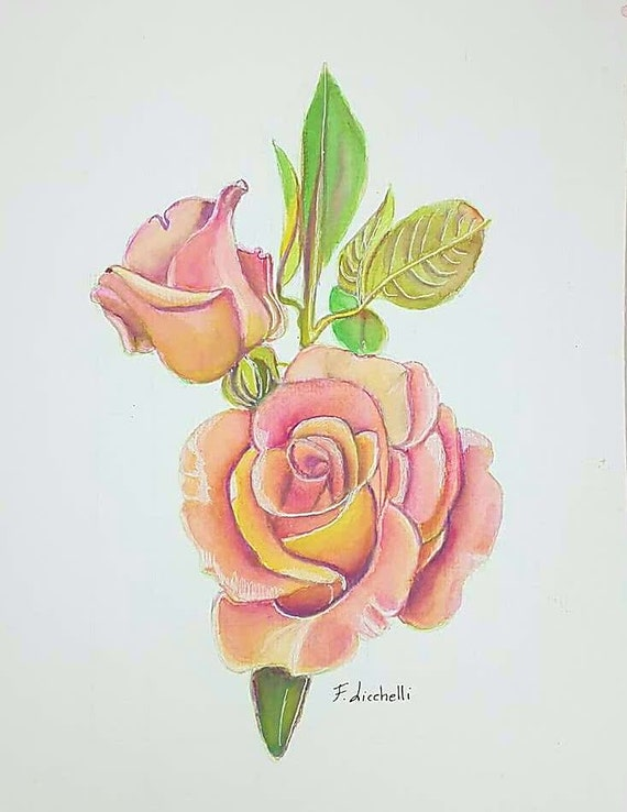 Pink Rose, rosebud, original watercolor, peach color, ooak, gift idea for her, wall art, home office decoration, bedroom, living room.