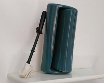 Toilet Brush Holder – Vintage Toilet Brush Holder - Toilet Brush Holder dark green turquoise - Toilet Brush Holder Swivel