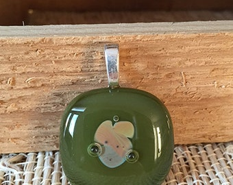 Olive Green & Taupe Fused Glass Pendant