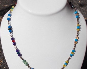 """Circus, 22"""" Necklace, Assorted Beads, Assorted Czech Fire Polished Beads, Bronze Wire, Hand-wrapped, One of a Kind, Artisan Jewelry"""