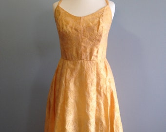 Lemon Yellow Spring Prom Dress 50's Style (Possibly 60s/70s) Maxi Circle Skirt Rockabilly Pin-up UK 12