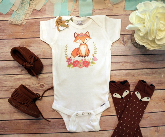 Fox esie Baby Girl Clothes Boho Baby Clothes by
