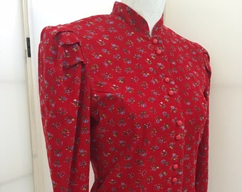 Vintage 80s Red Corduroy Victorian Style Dress