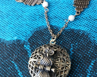 Long Brass Necklace with Owl Locket Pendant and Freshwater Pearls