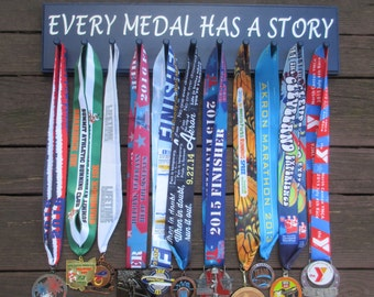 "11 Peg Running Medal Display Rack ""Every Medal Has a Story"""