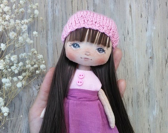 Cloth doll Art textile doll Collecting soft doll Fabric doll Rag doll OOAK Primitive toy Travel toy Handmade doll Gift for her Doll in lilac