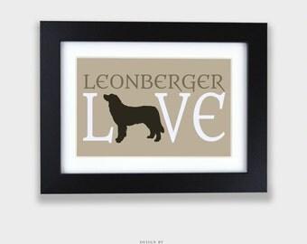 LEONBERGER LOVE Print | Dog Lover Print, Dog Silhouette, Animal Lover, Dog Typography, Dog Print, Dog Love, Dog Decor