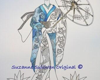 Geisha drawing  Etsy