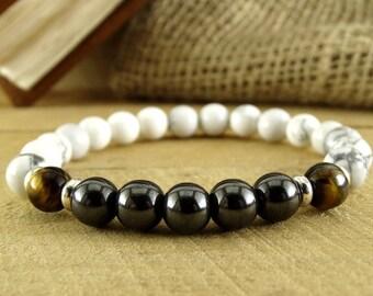 Mens Jewelry  White Bracelet  Mens Gift For Men Gemstone Bracelet For Him Beaded Bracelet For Men Balance Bracelet for Boyfriend Zen Jewelry