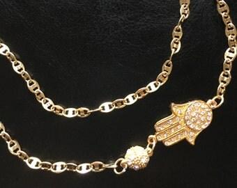 Gold Chain Double Wrap Hamsa