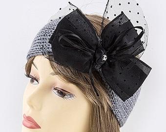 Black bow ribbon accent knit headwrap