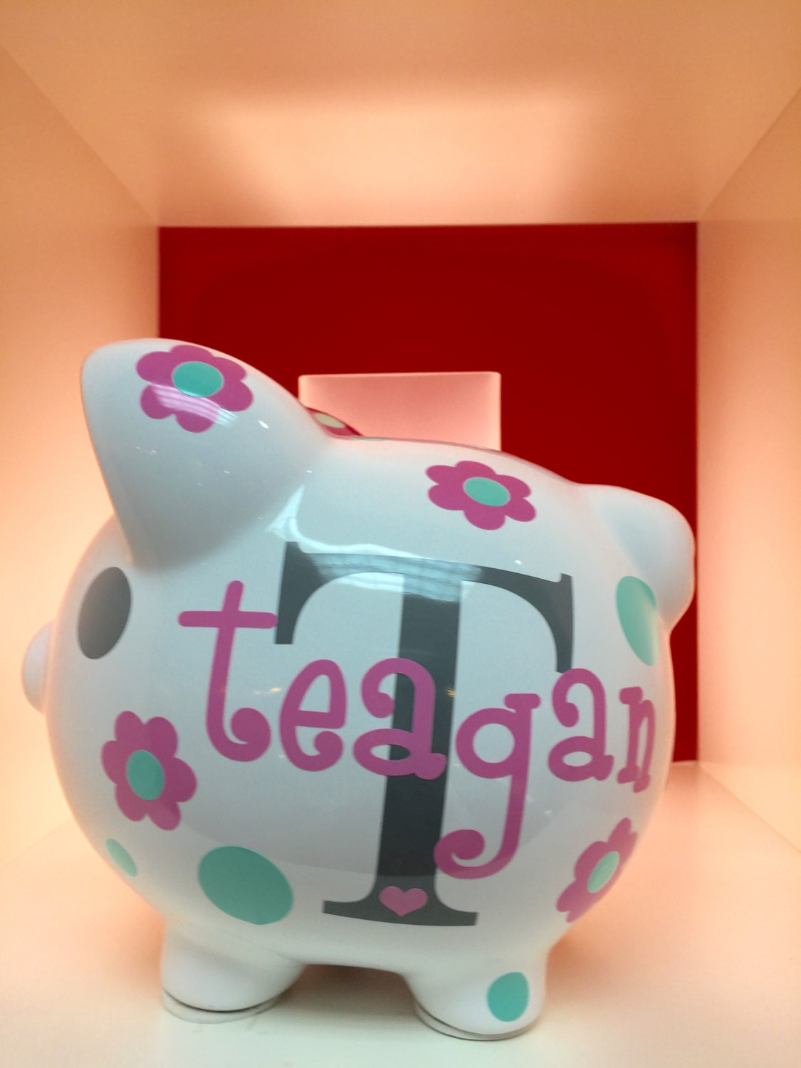 Children 39 s personalized ceramic flower piggy bank piggy for Piggy bank for toddlers