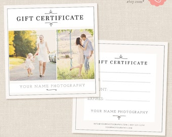 Photography Gift Certificate Template, Photo Gift Card, Printable, Photoshop Template, Photography Marketing Set, Kit, PSD download, Design