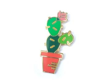 "PRICKLY PEAR Lapel Pin - 1.25"" Hard Enamel Pin / Hat Pin - Succulent Enamel Pin - Cactus Pin"