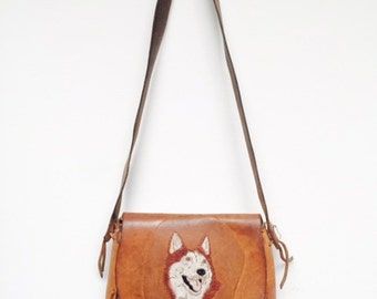 Brown Tooled Leather Wolf Purse Bag