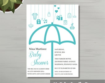 Printable Baby Boy Shower Invitation Template for Word, Boy Shower Card Template, Newborn baby. Printed Invitations or DIY Instant Download