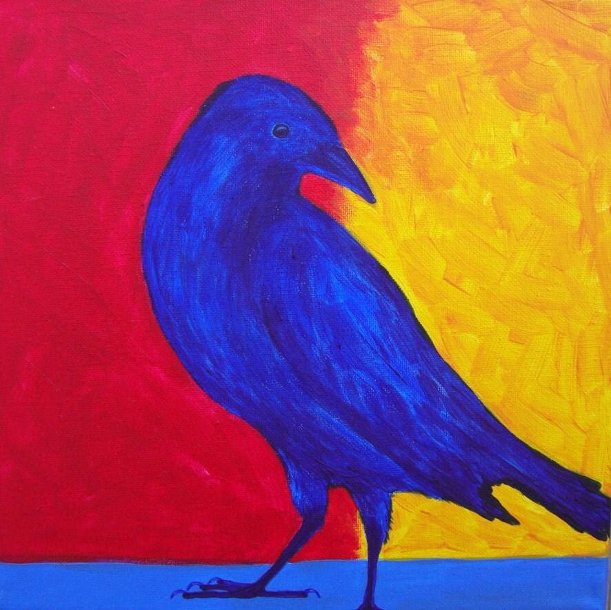 Raven pintura arte de cuervo mirlo arte pinturas de aves - Colores en pintura ...