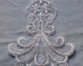 "Vintage White Organza Lace Applique -Bridal or craft applique 7.75"" tall X 4.5"" wide"