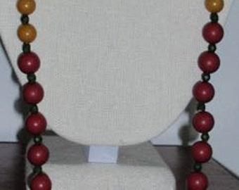 Earth Color  Bead vintage necklace