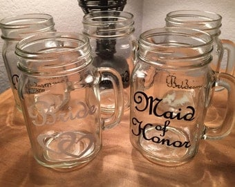 Bridal Party Mason Jar Mugs