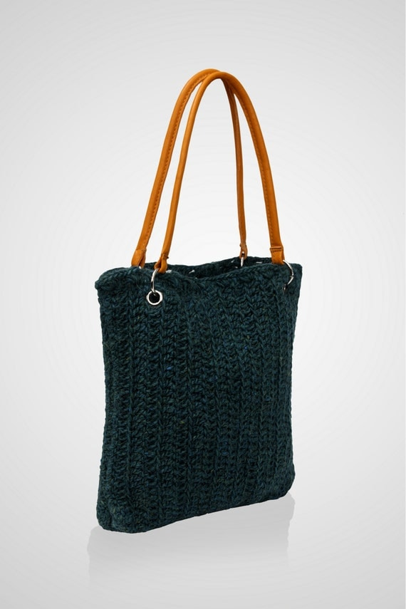 Leather Crochet Bag : Tote bag, crochet bag, leather strap, yellow, wool, handmade bag case ...