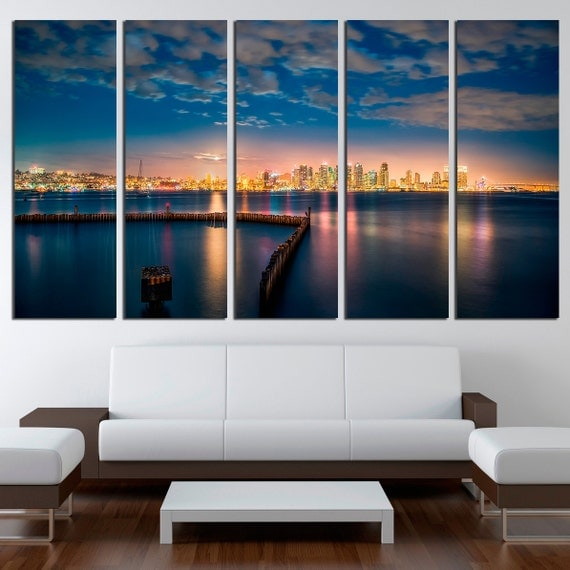 San Diego Bay At Night 3 Or 5 Panels Canvas Wall Art/ Print