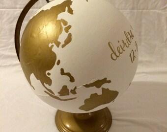 Hand-Painted White & Gold Globe