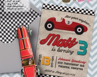 Vintage Red Racing Car Birthday Party invitations red race car DIY printable race car invite