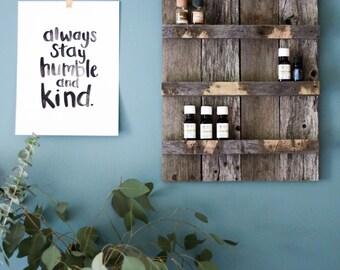 Reclaimed Wood Essential Oil Shelf Organizer, Essential Oil Storage, Pallet Wood Shelf, Pallet Art, Reclaimed Wood Shelf