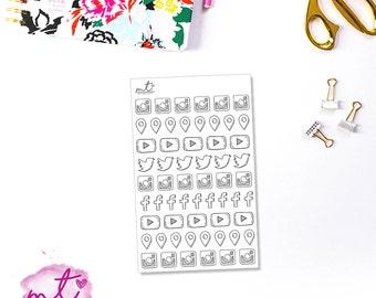 Hand Drawn Social Media Icons || 50+ Planner Stickers || Erin Condren Life Planner, Happy Planner, Personal Planner || SKU 032