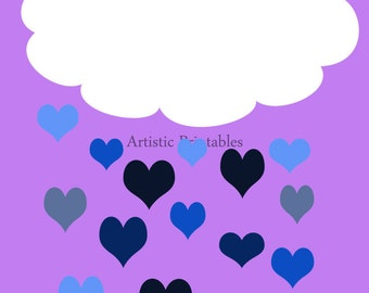 Bright and cheerful digital wall art purple,blue and white Nursery/Child's room art with clouds and heart-shaped raindrop