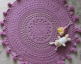 Crochet Floor Rug with Pom Pom edging, Nursery Rug, Playmat, Circle Rug