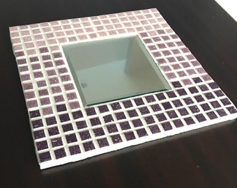 Purple Mosaic Mirror, Purple Mirror, Mosaic Art, Accent Mirror, Decorative Mirror, Decorative Mosaic Mirror, Square Mosaic Mirror