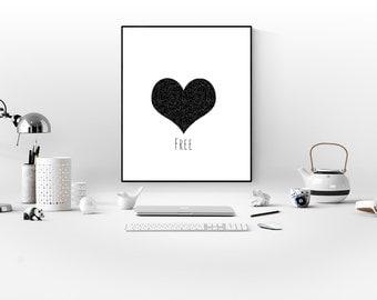 scandinavian print heart print printable art modern heart print geometric heart art