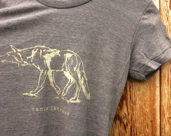 Women's Hand Screen Printed Coyote Graphic T-shirt, canis latrans wildlife tshirt, gift for her, graphic tees for women, gift for hiker