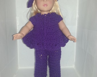 "Purple 3 Piece Outfit for 18"" Dolls"