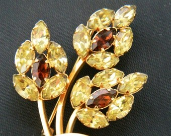 Vintage Art Flower Statement Brooch 1/20 12k GF Gold Rhinestone Coat Sweater Pin Signed Mid Century Costume Jewelry 2""