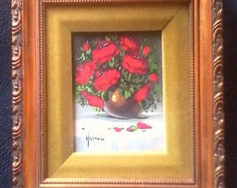 Vintage Swain Vivian Hollan Listed Signed Original Oil Minature Painting Floral Arrangement