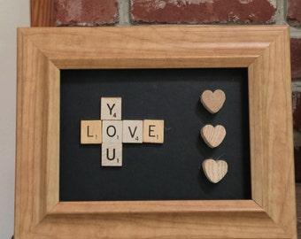 "Scrabble Tile Framed ""Love You"" Decor Piece"