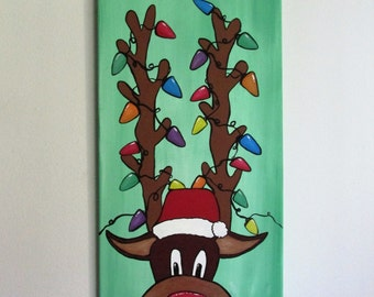 "Glowing Rudolph - 12"" x 24"" Acrylic on Stretched Canvas"