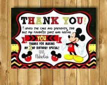 Mickey Mouse Thank You Card, Mickey Mouse Birthday Thank you Cards, Mickey Mouse Birthday Party, Mickey Mouse Printables, Mickey Print, 4x6
