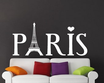 Eiffel Tower Wall Decal Paris Silhouette Vinyl Stickers Decals Art Home Decor Mural Vinyl Lettering Wall Decal France Bedroom Dorm x102