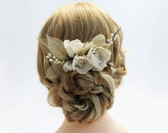 Ivory Floral Hair Comb with Skeleton Leafs - Wedding hair comb - Paper Flowers - Flower Headpiece
