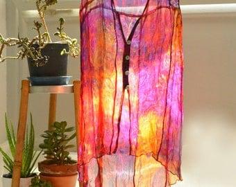 Button down sleeveless top in vibrant silk chiffon