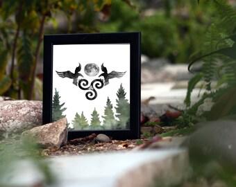Triskele - Odins Ravens - Huginn and Muninn - Triskelion - Viking Decor - Raven Lover Gift - Norse Art - Odin Print - Pagan - Wiccan
