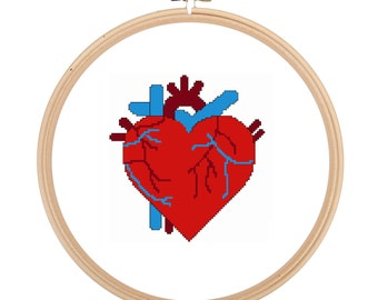 Anatomical Heart Cross Stitch Pattern Only, Nerdy, Science, Anatomy, Geeky, Modern